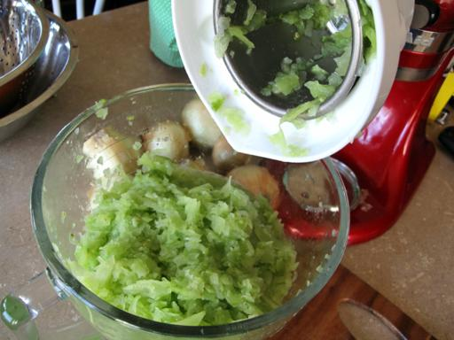 chopped green tomatoes for the making of Green Tomato Relish