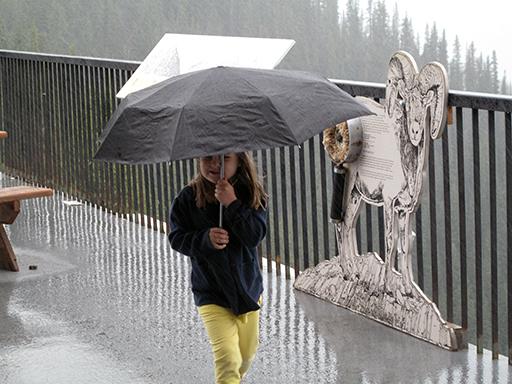 little girl walking while holding the black umbrella
