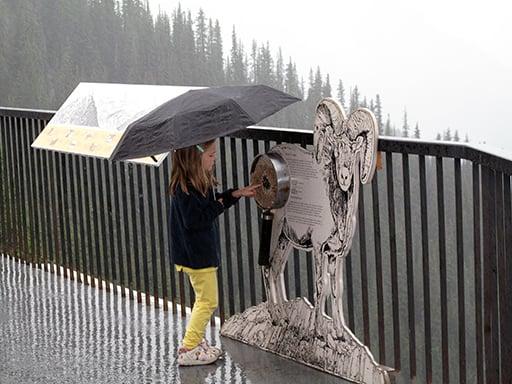 little girl near the animal standee holding a black umbrella