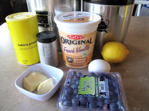 ingredients for a lighter version of Lemon Blueberry Muffins
