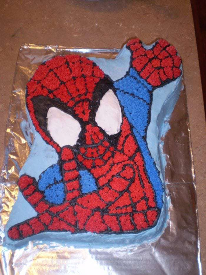 top down shot of Spiderman Cake