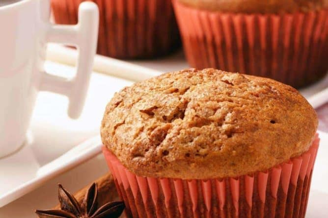 Spicy Ginger Muffins with orange color cake liners