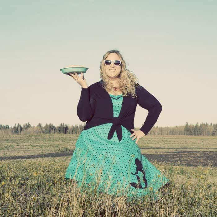 Flapper Pie and Me in a Alberta Prairie Field