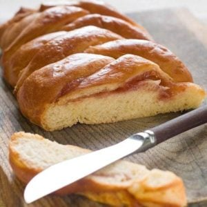 Fruit Filled Bread Braid sliced using a bread knife