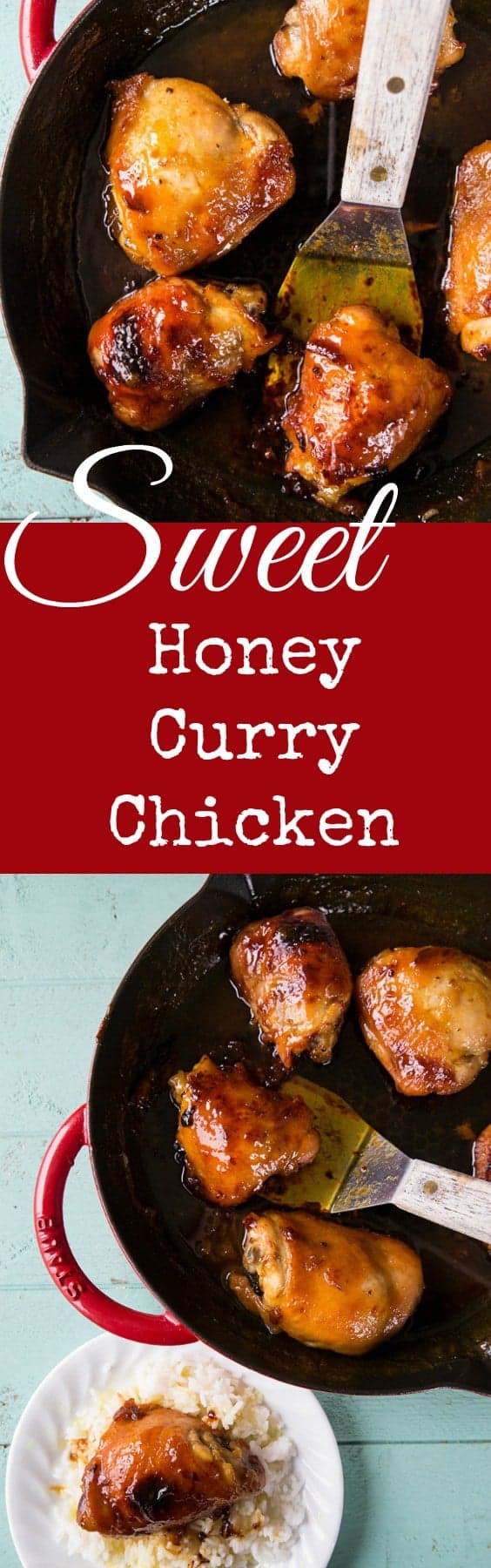 Sweet Honey Curry Chicken, made in a skillet or a baking dish. One of our favourite supper recipes!