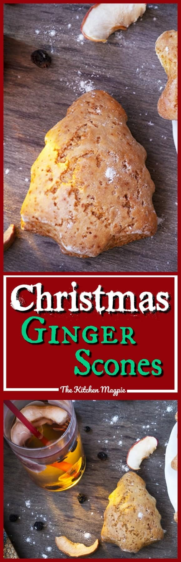 Amazing ginger tea scones that can be cut into adorable Christmas shapes! Perfect for snacking, afternoon tea and rainy days all throughout the year though! Recipe from @kitchenmagpie #Christmas #recipe #scones #dessert