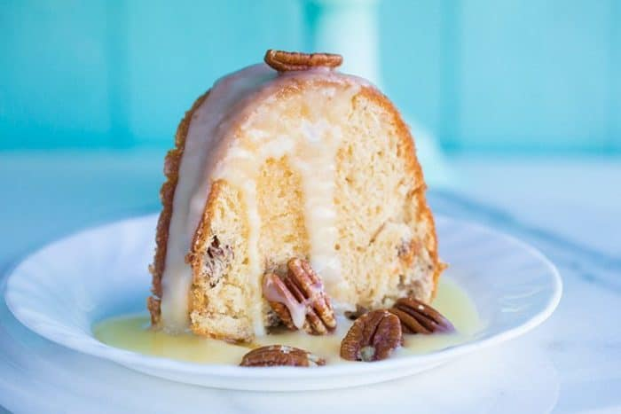 Pecan Butter Rum Cake Recipe -fast, easy and THE most delicious cake you'll bake this year! From @kitchenmagpie