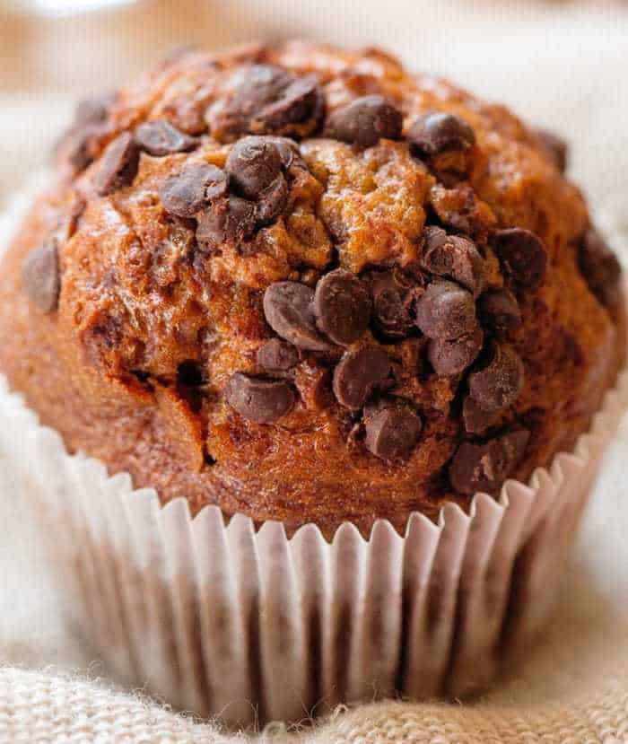 close up of Ultimate Chocolate Chip Pumpkin Muffin in a white cupcake liner