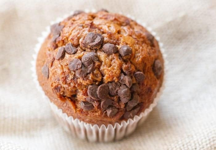 top down shot of Pumpkin Muffins with lots of chocolate chips on top