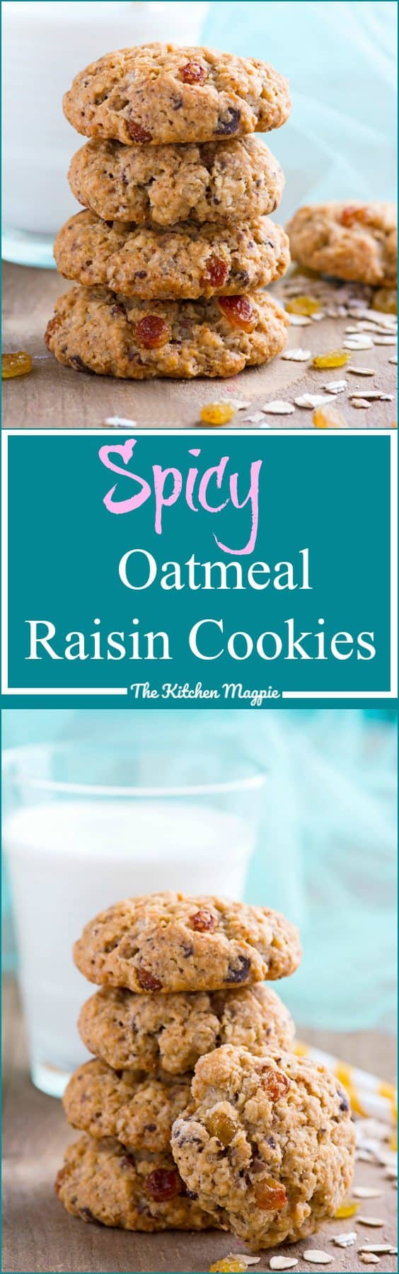 The best Spicy Oatmeal Raisin Cookies recipe. Soft, chewy and full of cinnamon! from @kitchenmagpie.