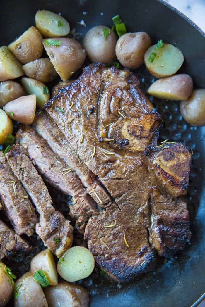 Close up of sliced Marinated then Barbecued T-Bone steak