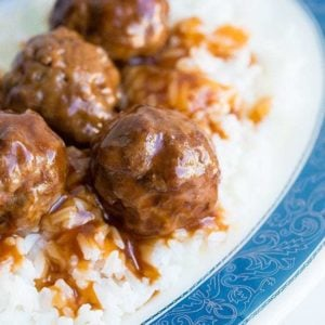 close up Sweet and Sour Meatballs in a plate with rice