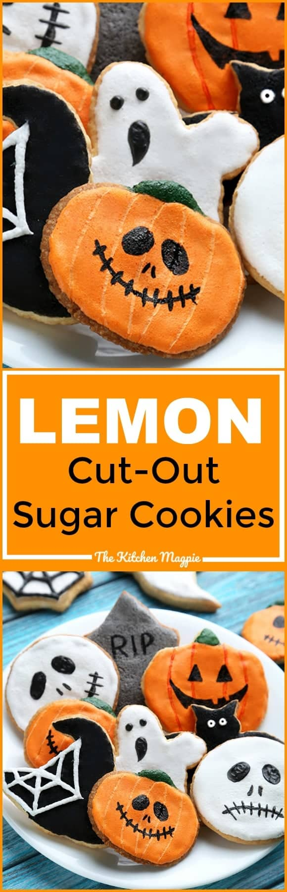 Lemon sugar cookies (with lemon sugar cookie icing!) are the most delicious cut-out sugar cookie around!  Perfect for Halloween, Christmas cookies and more! From @kitchenmagpie #cookies #halloween #christmas #recipes
