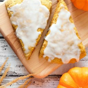 close up slices of glazed Pumpkin Scones