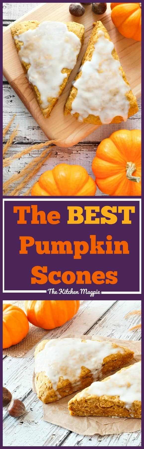 Pumpkin Scones ( Starbucks Copycat!). If you love Starbucks pumpkin scones,you will love these! #Starbucks #scones #baking #recipe #pumpkin Recipe from @kitchenmagpie