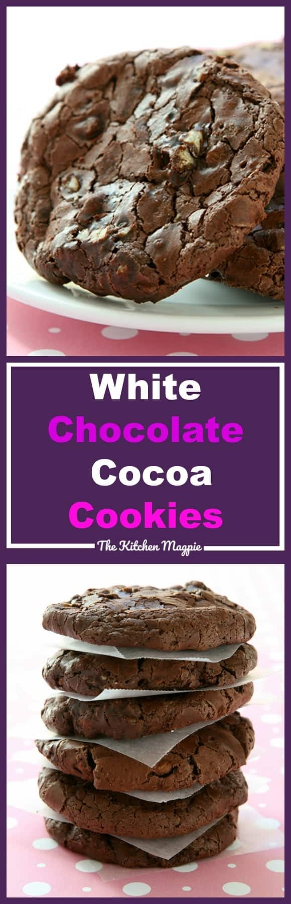 These White Chocolate Cocoa Cookies are the easiest, most decadent chocolate chip cookie ever! These are perfect for the white chocolate chip lover!  Recipe from @kitchenmagpie #cookies #chocolate #recipe #dessert