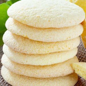 close up stack of Lemon Sugar Cookies
