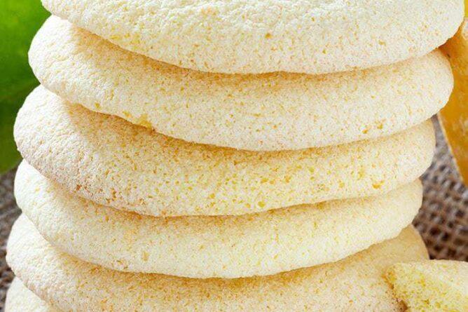 close up stack of Lemon Sugar Cookies