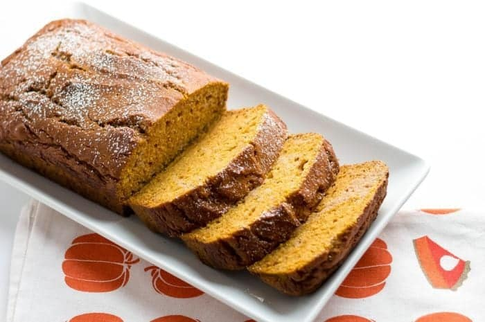 sliced Pumpkin Bread in a white plate