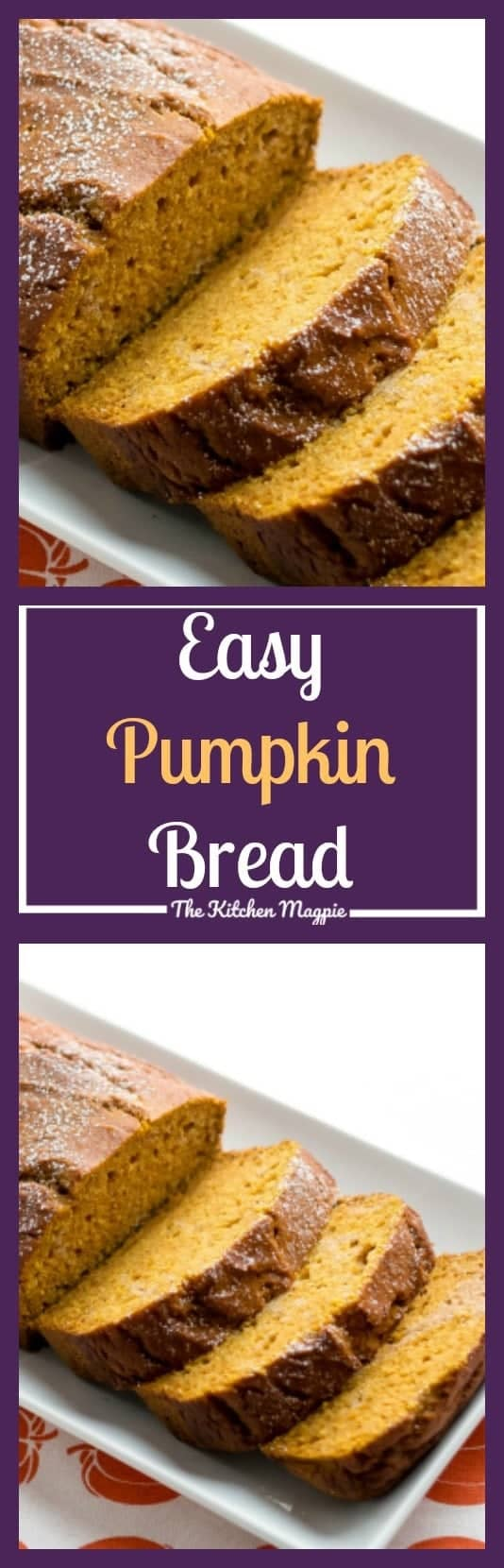 Delicious pumpkin bread (or loaf) that uses half oil and half apple sauce. This is one of those recipes you definitely need in your recipe box! From @kitchenmagpie