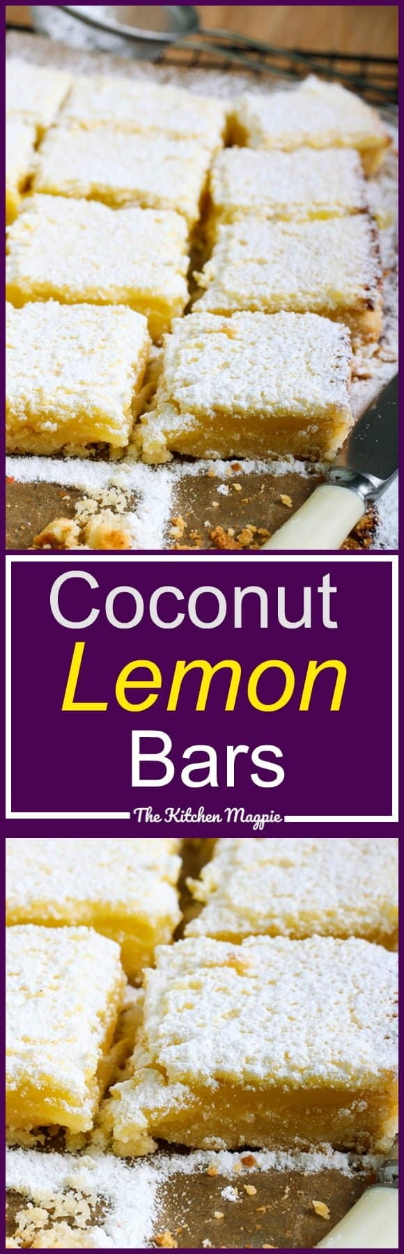 Lemon Bars with Coconut! These no-fail squares are perfect for any holiday! Or a Monday. Recipe from @kitchenmagpie. #lemon #lemonbars #recipe #dessert #christmas