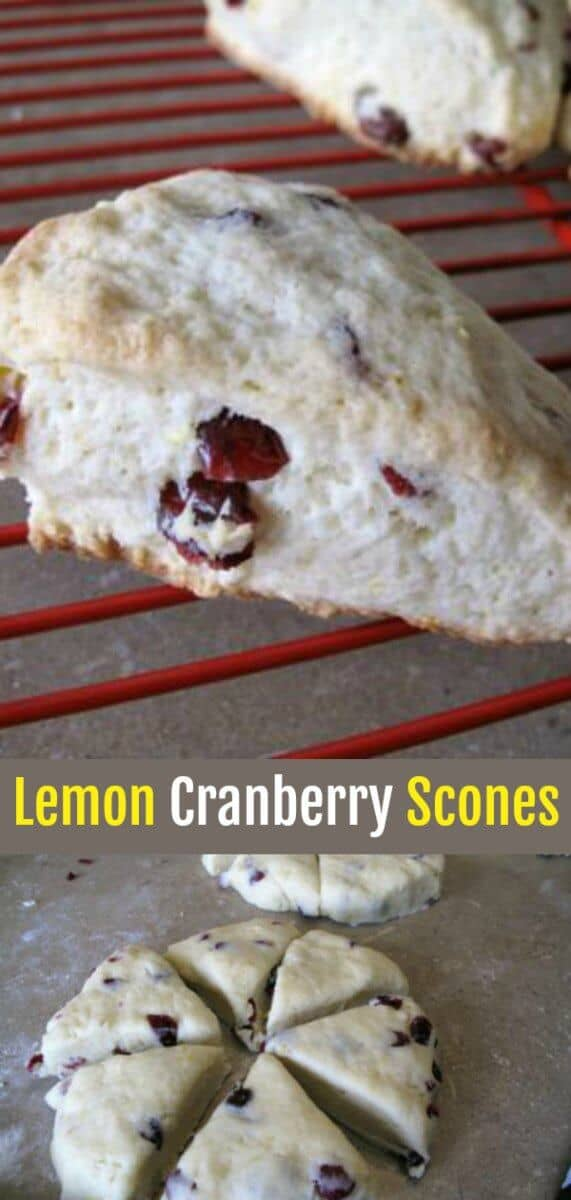 Delicious tangy lemon scones with the added zing of cranberries. #lemon #scones #cranberry
