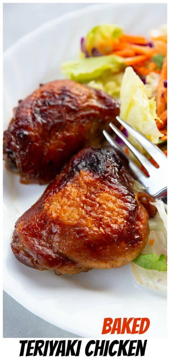 Crispy skinned baked teriyaki chicken that is loaded with flavour and simple to make! The teriyaki marinade is perfect for all pieces of skin on chicken. #chicken #recipe #teriyaki