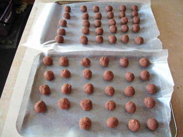 chocolate truffles on waxed paper