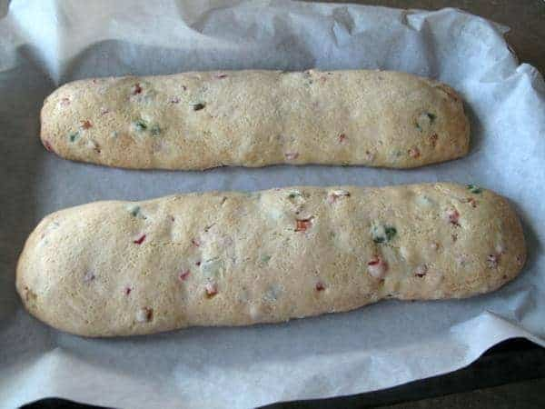 2 pieces baked Christmas Biscotti logs