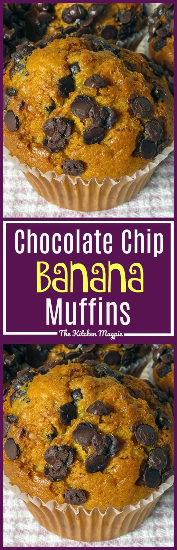 Chocolate Chip Banana Muffins are a fabulous way to use up those bananas on your kitchen counter or in your freezer! Kids and adults alike love these muffins!  Recipe from @kitchenmagpie. #muffins #banana #chocolatechip #recipe