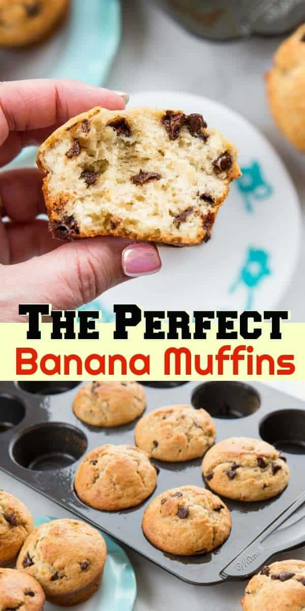 These are the PERFECT Banana Muffin! Light, fluffy, moist and loaded with banana flavour! #muffins #banana #baking #recipe #chocolate