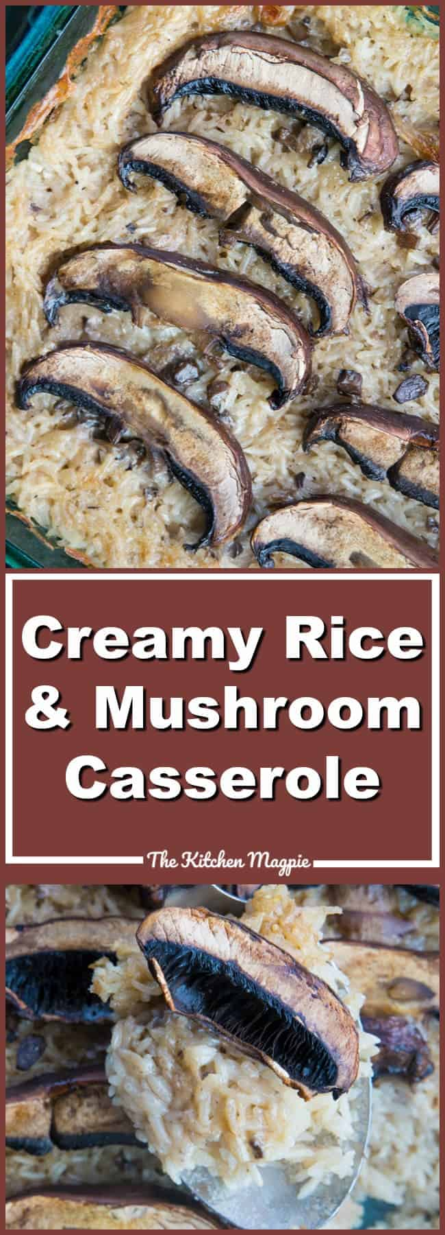 This easy and delicious Rice & Mushroom Casserole will be your new side dish for all dinners! Recipe from @kitchenmagpie #dinner #supper #recipeoftheday #rice #mushroom #casserole #recipes #recipe