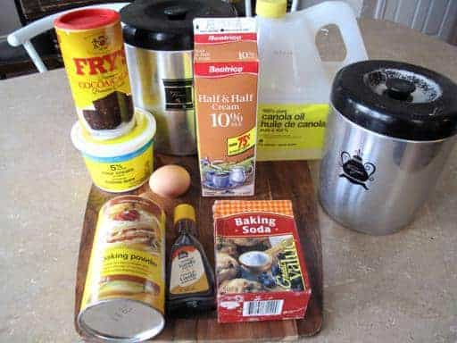 All the Ingredients needed in making Chocolate Cake on the top of table