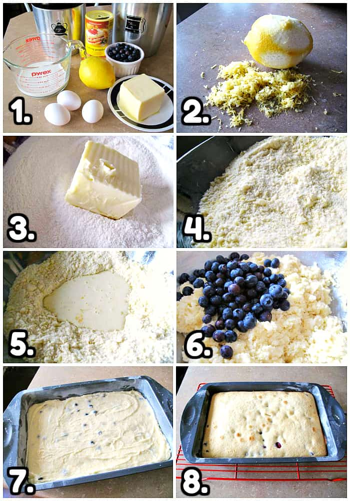 Step by step method for Lemon Blueberry Coffee Cake