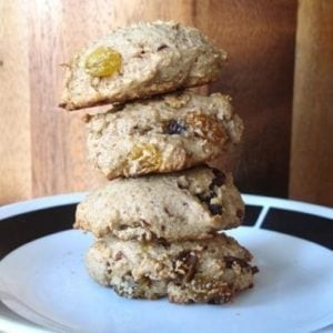 Stack of Whole Wheat Hermit Cookies in a White Plate