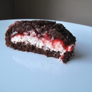 half piece of Black Forest Zuccotto showing the inside
