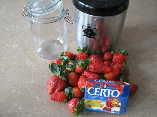 Ingredients needed for Strawberry Freezer Jam