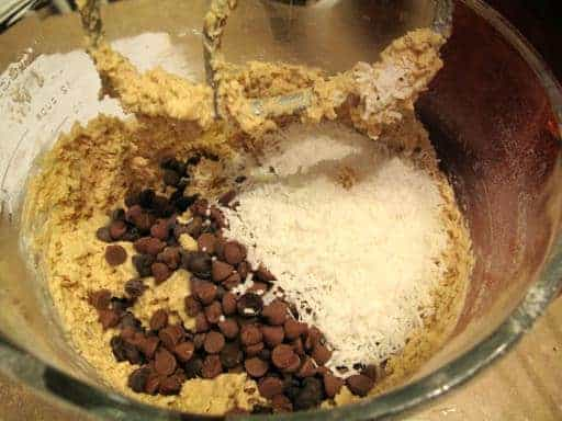 chocolate and coconut added to whisked ingredients
