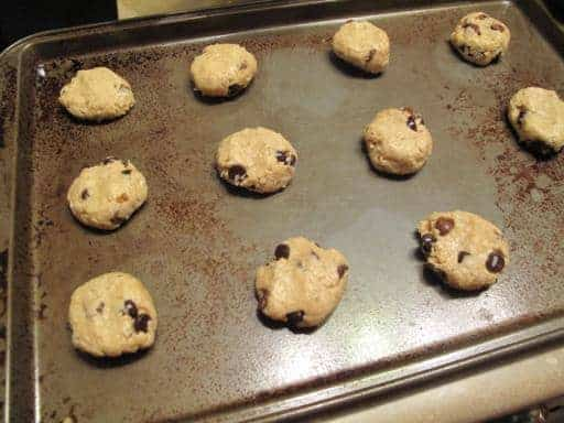 flattened cookie dough placed in ungreased cookie sheet