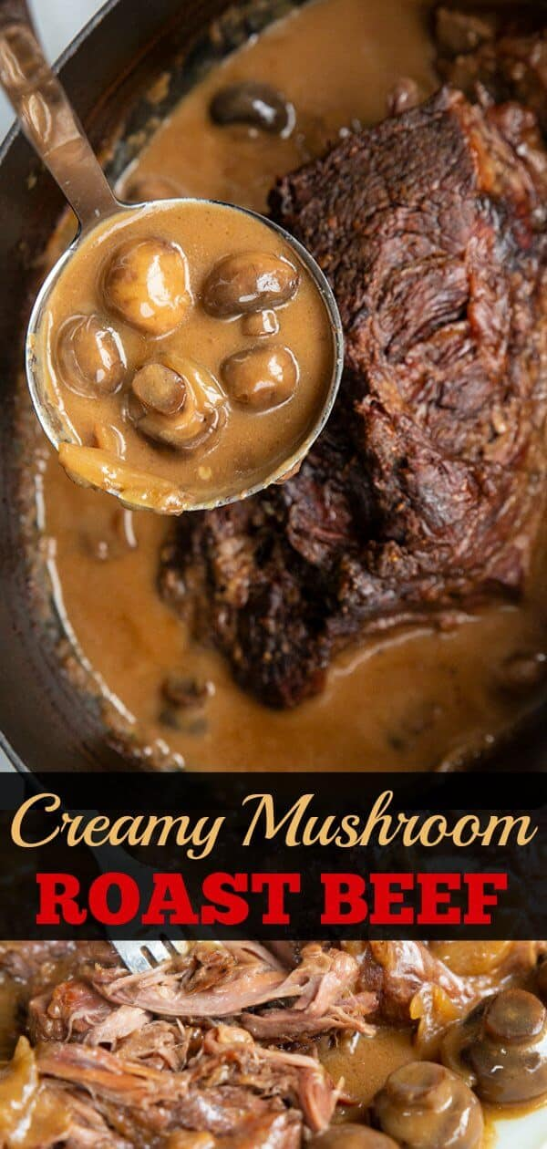 Creamy Mushroom Beef Chuck Roast Recipe! Take a tough chuck roast, slow cook it on low for hours and turn it into a buttery soft roast with a creamy mushroom onion gravy - ALL in one roaster! #roastbeef #beef #chuckroast #cooking #mushrooms #gravy #onions #dinner #supper #potroast #roast