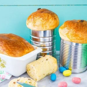 Easter Bread, or Ukrainian Babka in coffee tins and in a Pyrex loaf pan