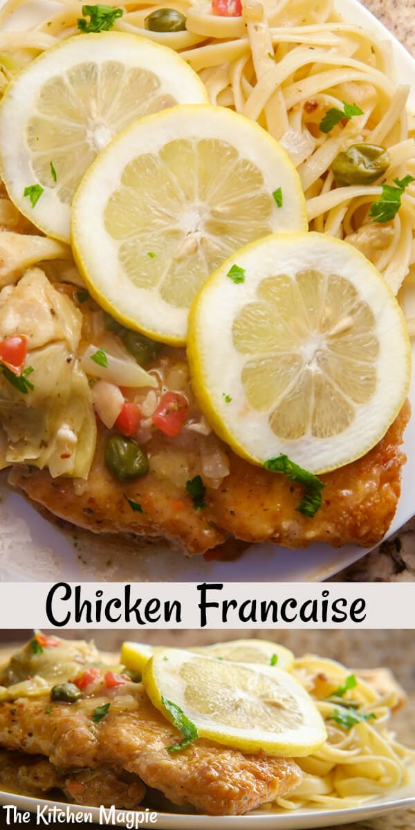How to make decadent, lemony Chicken Francaise! This skillet fried chicken in a lemon sauce is a classic chicken recipe. #chicken #chickenbreast #lemon #pasta #francaise