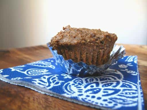 Pumpkin Bran Muffins with blue muffin liners