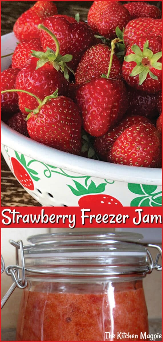 Need to know how to make strawberry freezer jam? This recipe is super easy and makes an excellent strawberry freezer jam you can enjoy year round! #jam #strawberry