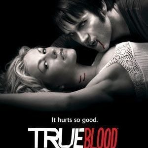 True Blood cover photo with a lady and a vampire man