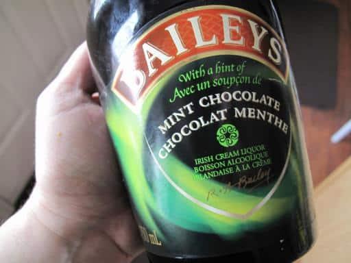 a bottle of Baileys brand mint chocolate