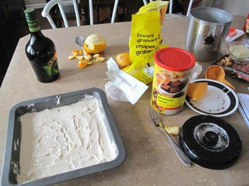 all baking ingredients and materials on top of table