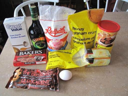 Ingredients needed for Bailey's Bars all on top of table