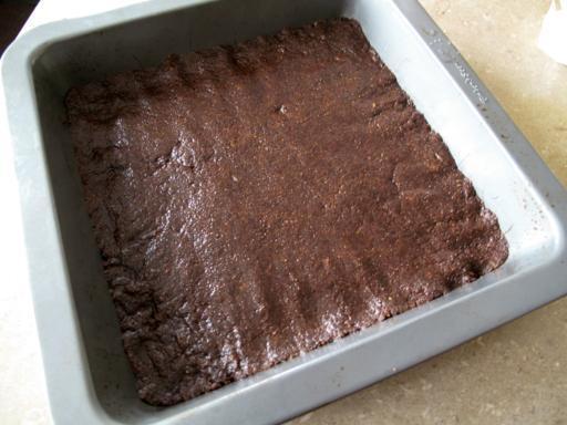 Pressed crumb base in baking pan