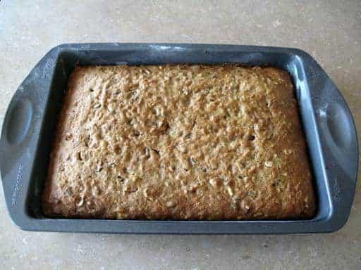 Freshly baked Fully Loaded Carrot Cake in baking pan
